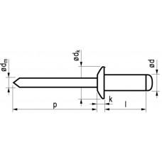 BLINDKLINKNAGEL ALU/ST BK 6.0X16 25ST (BOOR 6,1) 9-11MM
