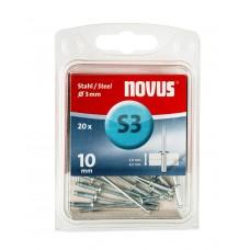 NOVUS BLINDKLINKNAGEL S3 X 10MM, STAAL S3, 20 ST.