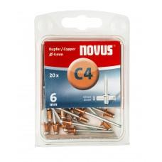 NOVUS BLINDKLINKNAGEL C4 X 6MM, KOPER, 20 ST.