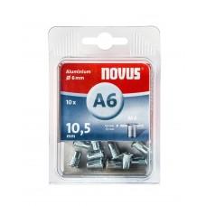 NOVUS BLINDKLINKMOER M4 X 10,5MM, ALU S, 10 ST.