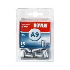 NOVUS BLINDKLINKMOER M6 X 15MM, ALU SB, 10 ST.