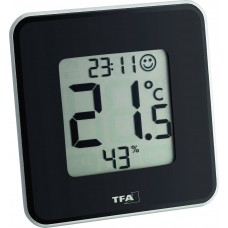 "DIG. THERMO-HYGROMETER ""STYLE"" ZWART"