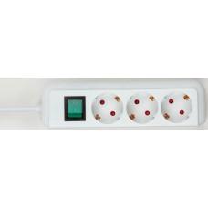 ECO-LINE STEKKERDOOS MET SCHAKELAAR 3-VOUDIG WIT 1,5M H05VV-F 3G1,5