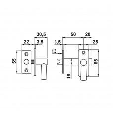 INBOORGRENDEL MET SLUITPLAAT/DM50/F1/BL.