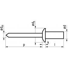 BLINDKLINKNAGEL GAS/WATERDICHT KOPER/ST BK 4.0X10 25ST