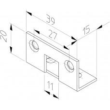 HP 7/11 HOEKSLUITPLAAT, STAAL VERZINKT 39 X 15-20MM RECHTHOEKIG, DR 1+