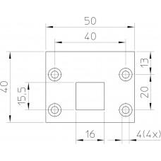 P 13/11 SLUITPLAAT, STAAL VERZINKT 50 X 40MM RECHTHOEKIG, DR 1+2+3+4.