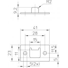 P 7/11 SLUITPLAAT, STAAL VERZINKT 41 X 23MM RECHTHOEKIG, DR 1+2+3+4.